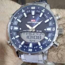 Relógio Kat Wach Masculino Fundo Azul