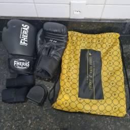 Kit Luva De Boxe Muay Thai Mma Bandagem E Bucal 10Oz Preto