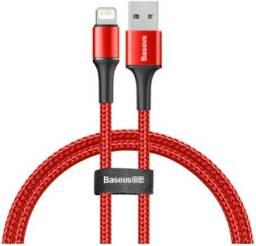 Cabo USB Lightning para iPhone Baseus 1 Metro Vermelho Iluminação LED Nylon