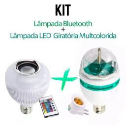Kit Lâmpada Bluetooth Rgb Som + Lâmpada Led Giratoria Rgb