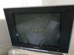 Tv 21 polegadas de tubo, com tela plana e controle