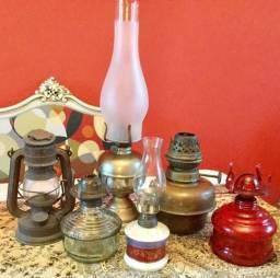Coleção de seis lampiões antigos