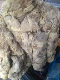 Casaco de pele e pelos de coelho barato