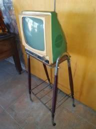 Antiga TV com pé original de época jacarandá