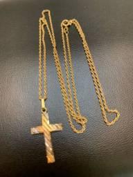 Cordão e pingente ouro 18k 60cm