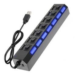 Hub USB de 7 Portas - Com Led