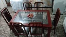 Mesa de Jantar Vintage, 6 cadeiras, em mogno e tampo de vidro