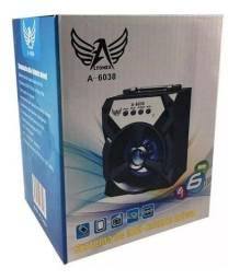 Caixa de Som Portatil USB Aux Sd Fm Led A-6038 Preta