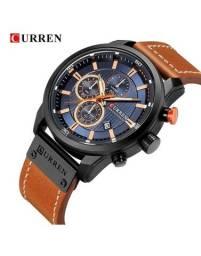 Relógio Curren com cronógrafo, caixa em aço inoxidável e pulseira de couro PU