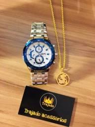 Kit relógio + cordão + pingente