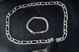 Colar e pulseira de prata