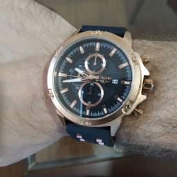 Relógio Lige Aço Inox Bronze - Pulseira de Silicone