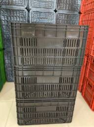 Caixa plastica Nova - Modelo hortifruti Reta na cor preta - 56x36x31alt
