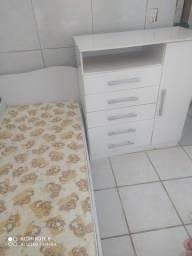 Mini cama com colchão mas cômoda