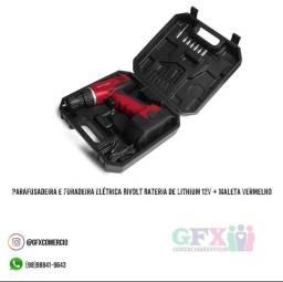 Título do anúncio: Parafusadeira e furadeira elétrica BIVOLT bateria de lithium de 12v + maleta