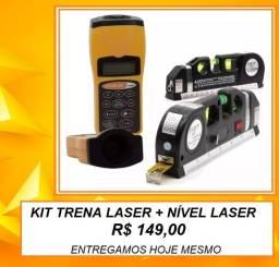Kit Profissional Ferramenta Trena Laser + Nível Digital Sonico