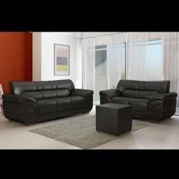 Sofá de 3 e 2 Lugares Londres Korino Preto ( Sem o Puff
