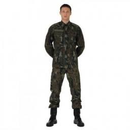 Farda de combate camuflada fab + coturno militar preto