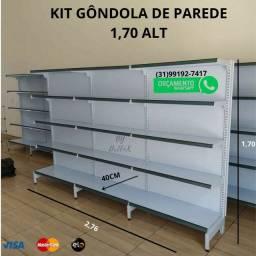 Gôndola de Parede 1,70 kit. Gondola com 5 bandejas. Gondula nova produto na caixa