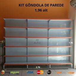 Gôndola de parede 6 bandejas. Gondola para expor. Prateleiras Gondula