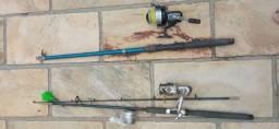 2 Molinetes com varas - Daiwa e Marine Sports