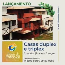 Casas Duplex 89m², 3/4 com 1 suíte e 3 vagas - Brisas de Imbassaí