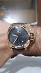 Relógio Masculino Megir Couro Bronze