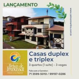 Casas Duplex no Brisas de Imbassaí, 3/4 com 1 suíte e 3 vagas em 89m²