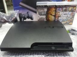 Playstation 3 Slim Novíssimo/Destravado com 8000 Jogos Lançamentos (Loja GameStop)