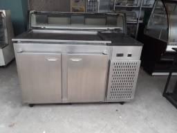 Balcão de Encosto Refrigerado com Pista Refrigerada em Inox Semi Novo