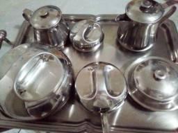Conjunto p/ Chá e Café de Inox - 9 peças