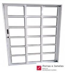 Título do anúncio: Porta Balcão de Correr Quadriculada Alumínio Branco 3 Folhas Seq. Linha 25 2,10x1,20