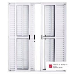Título do anúncio: Porta Balcão de Correr Alumínio Branco 6 Folhas - L25 - 210 x 200