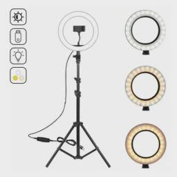 Ring Light Iluminador 26cm 10 Polegadas + Tripé Completo 1.6 metros