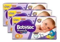 Promoção - Mega Pacote de Fraldas Babysec Premium M por apenas 20 reais