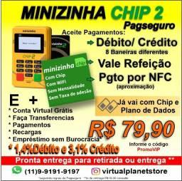 Minizinha Chip Maquininha de cartão não precisa de celular