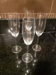 4 Copos de Champagne De Cristal Bohemia