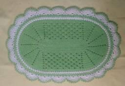 Tapete de crochê oval