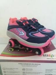 Tênis Patins Roller box (36 pink/azul)