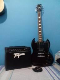 Guitarra Shelter SG Detroit + Amplificador tagima
