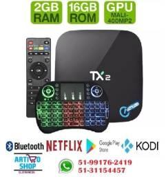 Kit Tv Box Tx2 Smart Bluetooth 4K 2Gb Ram e 16Gb + Teclado Wireless
