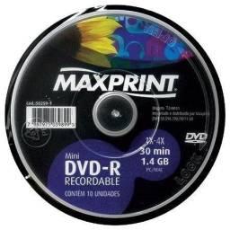 Mini DVD-R Gravável 1x-4x 1.4gb com 10 Un - Maxprint