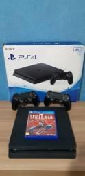 Playstation 4 Slim - 500 Gb + 2 DualShocks originais + Spider-Man