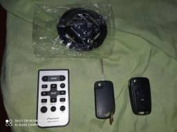 Antena GPS controle de som Pioneer chaveiro canivete vw e carcaça de chave gm