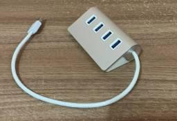 Hub USB de Alumínio Premium 4 Portas Usb Com Cabo Blindado