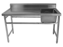 Título do anúncio: Mesa Industrial De Serviço Cuba Na Direita Aço Inox 190x70cm Frigopro