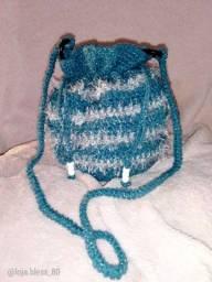 Bolsa de Crochê Azul Petróleo Coleção Vogue