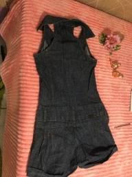 Macacão jean curto