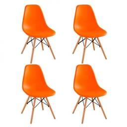Mesa Eiffel design eames 90cm branca e 4 cadeiras Eiffel base madeira laranja