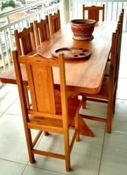 Mesa em Madeira Maciça 2.00 x 1.00 + 10 cadeira